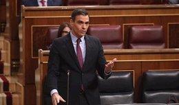El presidente del Gobierno, Pedro Sánchez, en la sesión de control al Gobierno.