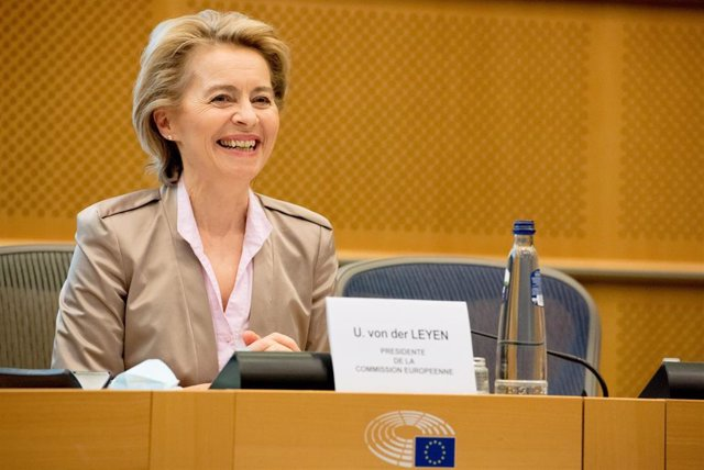 HANDOUT - 23 June 2020, Belgium, Brussels: European Commission President Ursula von der Leyen reacts during a joint press conference with President of European Parliament David Sassol (not pictured). Photo: Etienne Ansotte/European Commission/dpa - ATTENT