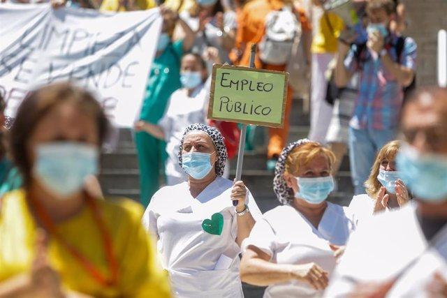 Concentración de las trabajadoras del servicio de limpieza del Hospital Gregorio Marañón de Madrid del pasado 22 de junio