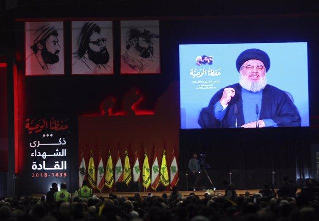 El líder del partido-milicia chií libanés Hezbolá, Hasán Nasralá