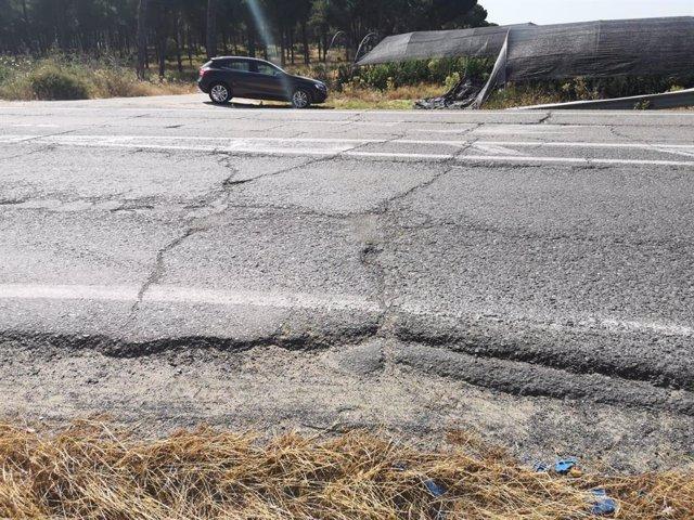 Imagen de un tramo de la carretera A-486.