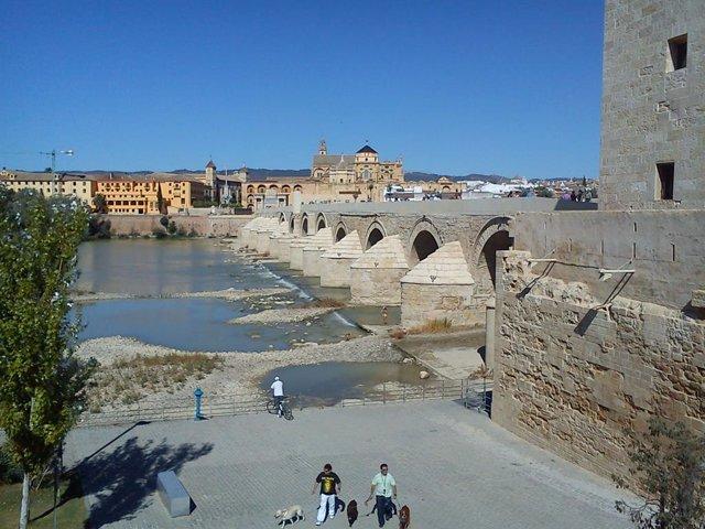 Imagen del Puente Romano, con la Puerta del Puente y la Mezquita-Catedral de Córdoba al fondo.