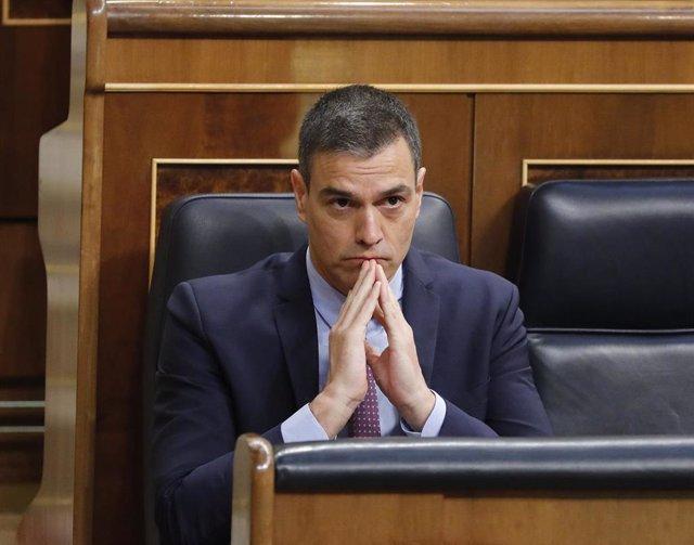El presidente del Gobierno, Pedro Sánchez, durante la primera sesión de control al Gobierno en el Congreso de los Diputados tras el estado de alarma, en Madrid (España), a 24 de junio de 2020.