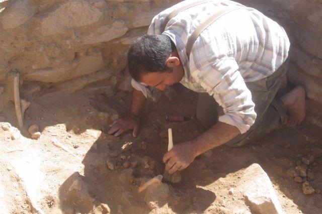 Siavash Samei durante el trabajo de recolección de restos en Kura-Araxas