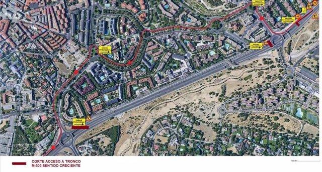 Imagen de corte de trafico en Pozuelo por obras en la M-503.