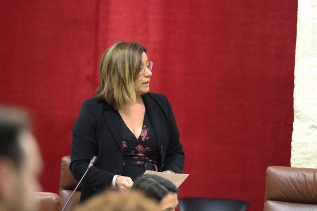 La diputada de Ciudadanos (Cs) por Sevilla en el Parlamento de Andalucía Mar Hormigo durante una intervención en el Parlamento