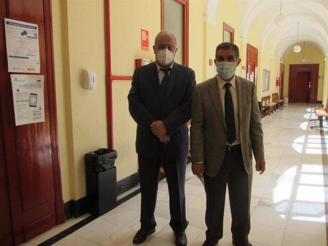 El presidente del TSJA, Lorenzo del Río, junto al presidente de la Audiencia de Jaén, Rafael Morales