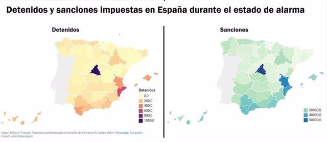 Detenidos y sanciones impuestas durante el estado de alarma en España