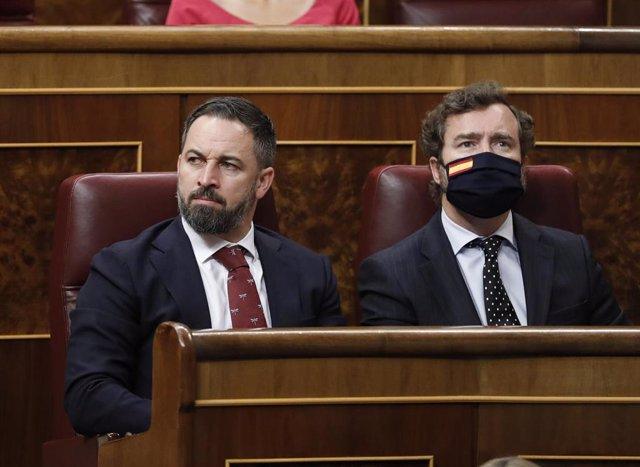El presidente de Vox, Santiago Abascal, y el portavoz en el Congreso, Iván Espinosa de los Monteros