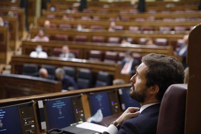 El presidente del Partido Popular, Pablo Casado, durante la primera sesión de control al Gobierno en el Congreso de los Diputados tras el estado de alarma, en Madrid (España), a 24 de junio de 2020.