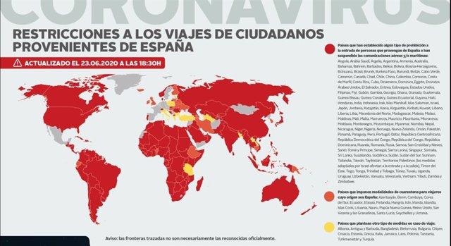 Mapa de los países que imponen prohibiciones de entrada a ciudadanos españoles o tienen suspendidas las conexiones aéreas o marítimas