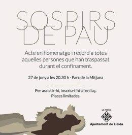 Acto en homenaje de los fallecidos durante el confinamiento en Lleida.