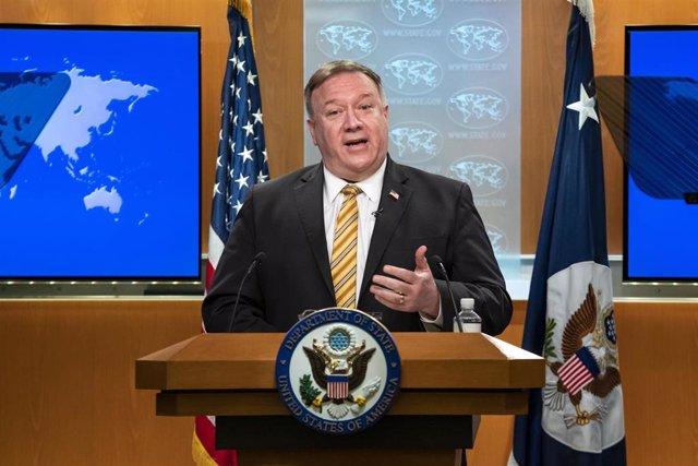 El secrtario de Estado estadounidense, Mike Pompeo, durante una rueda de prensa.