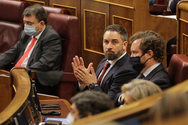 El presidente de Vox, Santiago Abascal, en el Pleno del Congreso