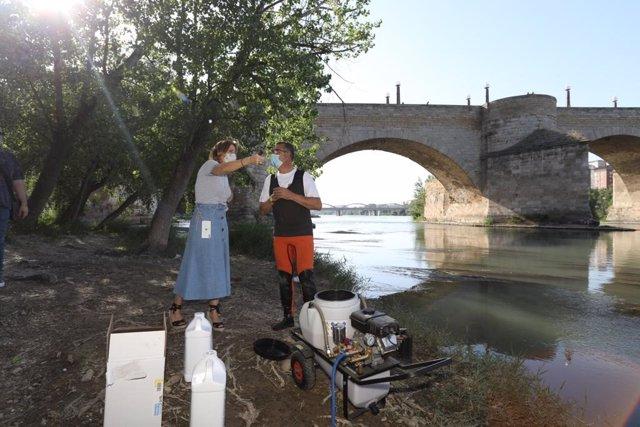 La consejera municipal de Servicios Públicos y Movlidad, Natalica Chueca, supervisa el tratamiento directo contra la mosca negra en los ríos Ebro y Gállego