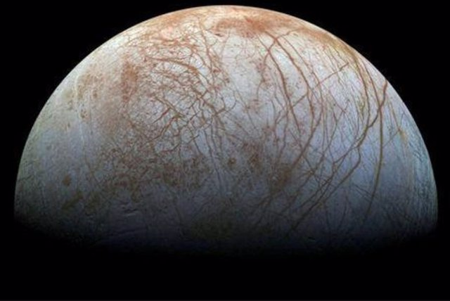 Superficie helada de la luna Europa de Júpiter