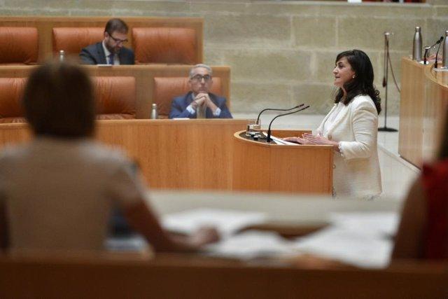 La presidenta del Gobierno riojano, Concha Andreu, en el Debate sobre el Estado de la Región