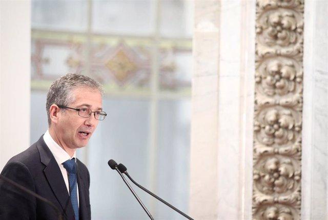 El gobernador del Banco de España, Pablo Hernández de Cos, durante su intervención en la Convención Anual Financiera de la Asociación de Mercados Financieros (AMF), en Madrid (España), a 18 e noviembre de 2019.