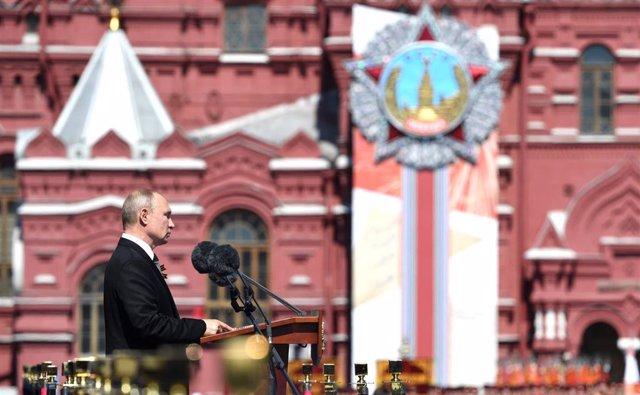 Vladimir Putin en su discurso del desfile del Día de la Victoria