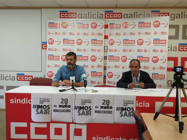 Ramón Sarmiento (CC.OO.) y José Antonio Gómez (UGT) en rueda de prensa sobre movilizaciones para un pacto por la reconstrucción