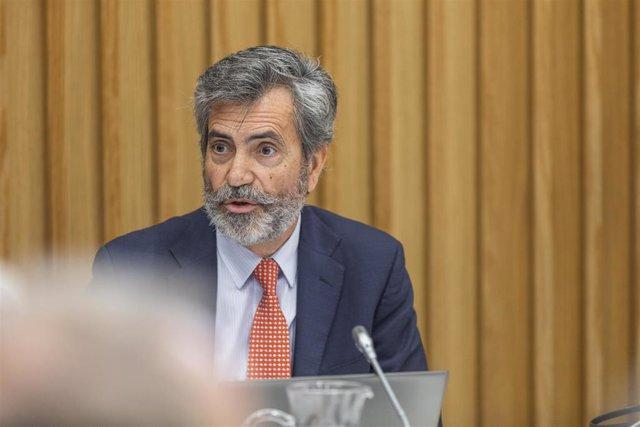 El presidente del Consejo General del Poder Judicial y del Tribunal Supremo (CGPJ), Carlos Lesmes durante el pleno del Consejo General del Poder Judicial (CGPJ), en Pontevedra/Galicia (España), a 30 de enero de 2020.