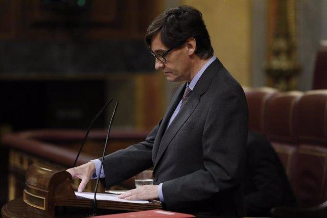 El Ministro de Sanidad, Salvador Illa, durante su intervención en la sesión plenaria que debate el decreto de la 'nueva normalidad', que rige en España desde el término del estado de alarma, en Madrid (España), a 25 de junio de 2020.