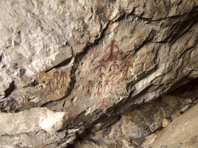 PIntura de arte rupestre en el Parque Nacional de Monfragüe (Cáceres)