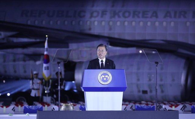 Corea.- El presidente de Corea del Sur insta al Norte a firmar la paz, aunque av