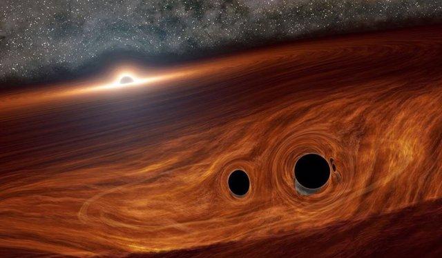 Concepto artístico de un agujero negro supermasivo y su disco de gas alrededor