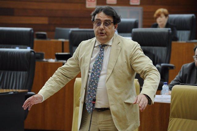 El vicepresidente segundo y consejero de Sanidad y Servicios Sociales, José María Vergeles, en el pleno de la Asamblea