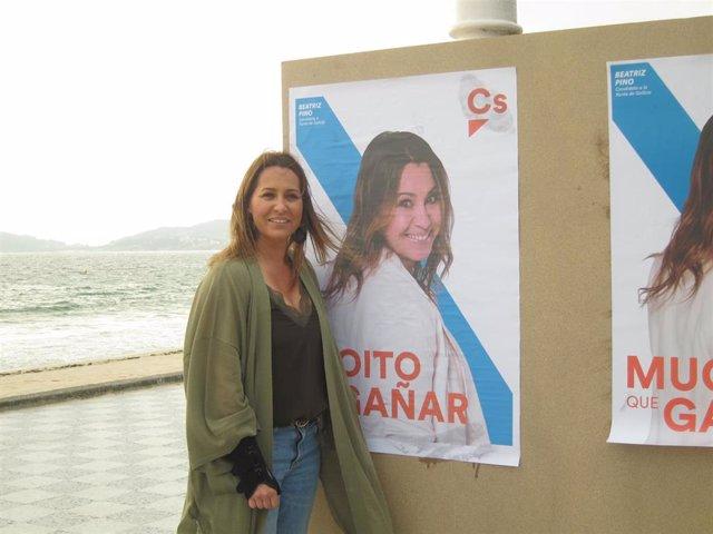 La candidata de Ciudadanos a la Presidencia de la Xunta, Beatriz Pino, durante el acto