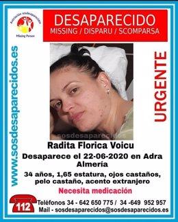 Cartel alertando de la desaparición de Radita Florica Voicu