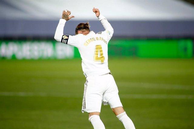 Sergio Ramos celebrando su gol ante el Mallorca