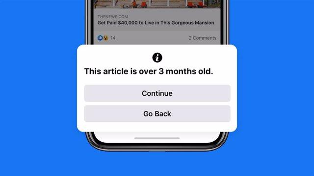 Facebook avisará a los usuarios antes de compartir artículos de hace más de 90 d