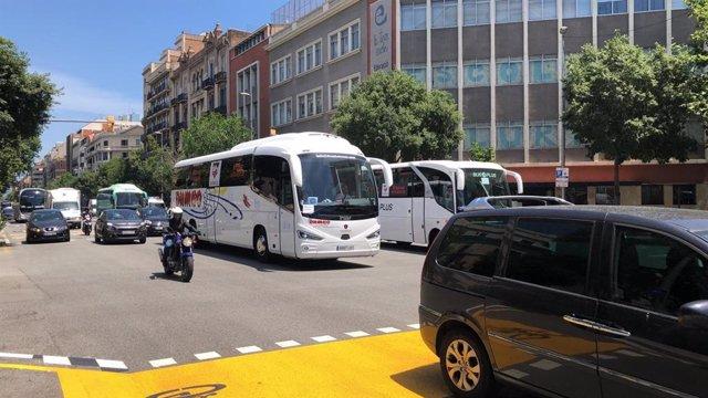 Protesta de autocares en Barcelona