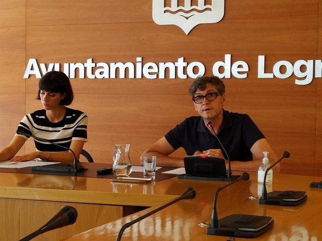 Los concejales del PP en el Ayuntamiento de Logroño Antonio Ruiz Lasanta y Patricia Lapeña.