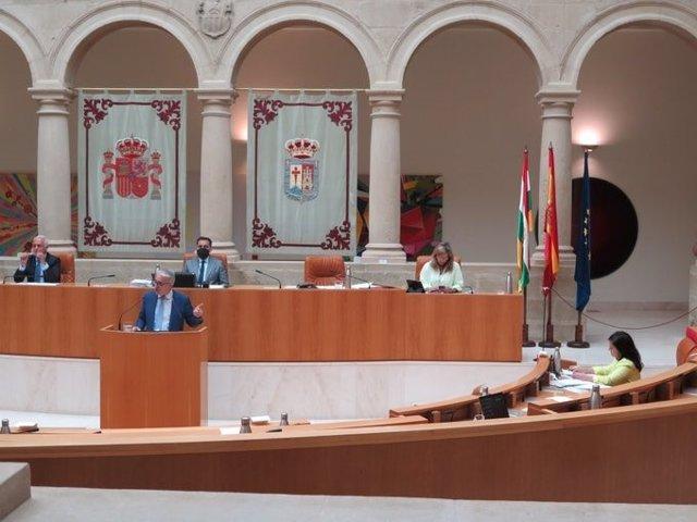 El portavoz del PP, Jesús Ángel Garrido, replica a la presidenta del Gobierno riojano, Concha Andreu