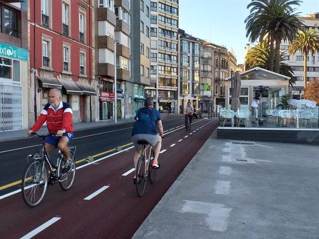 Carril bici de jardines de la Reina, en Gijón
