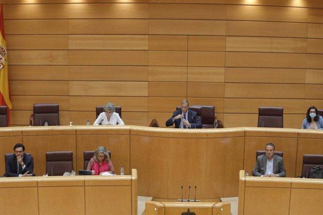 Imagen de la Comisión Mixta de Control Parlamentario de la Corporación RTVE del Senado durante la comparecencia de la administradora provisional única de RTVE, Rosa María Mateo, en Madrid (España), a 26 de junio de 2020.