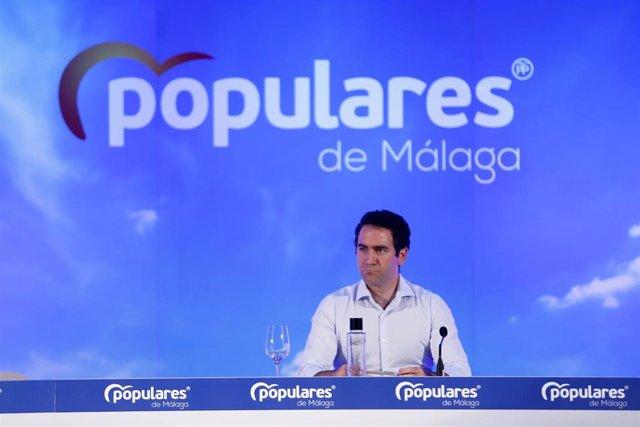 El secretario general del Partido Popular, Teodoro García Egea durante la clausura el Consejo de Alcaldes del PP de Málaga. En Málaga (Andalucía, España), a 26 de junio de 2020.