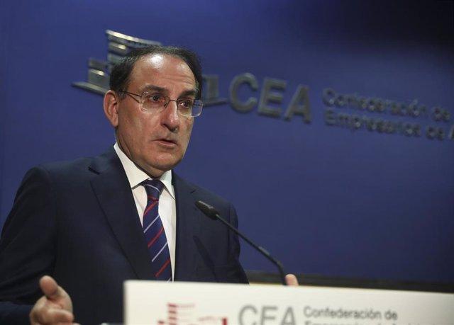 El presidente de la Confederación de Empresarios de Andalucía (CEA), Javier González de Lara, en una imagen de archivo del 12 de marzo.