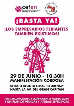 Cartel de la manifestación covocada por Cefan en Córdoba.