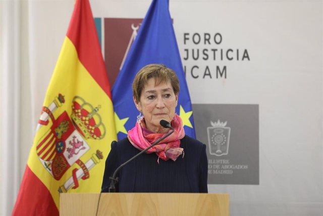 La presidenta del Consejo General de la Abogacía, Victoria Ortega, durante su intervención en el acto de su presentación como nueva presidenta del consejo en el foro de Justicia del Colegio de Abogados, en Madrid (España), a 19 de febrero de 2020.