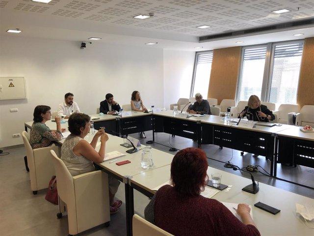 La mesa de expertos que repensará el modelo de residencias y atención a las personas en Catalunya, con el conseller de Trabajo, Asuntos Sociales y Familias, Chakir el Homrani, en el centro, este viernes 26 de junio del 2020.