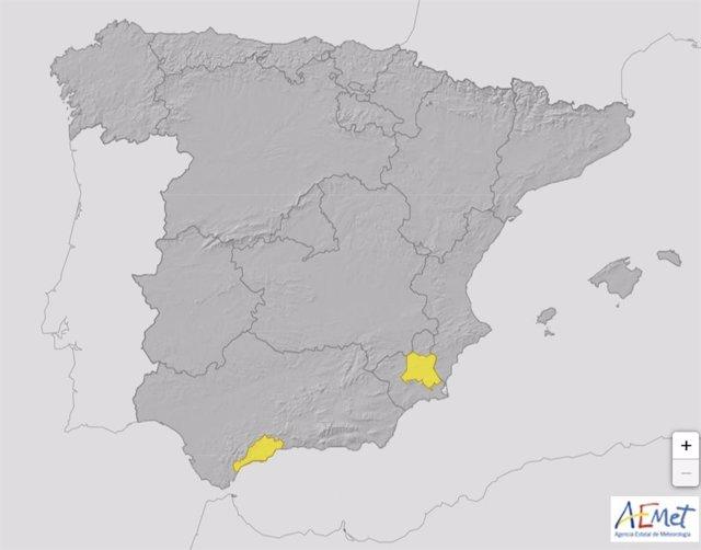 La Aemet activa el nivel amarillo por temperaturas de 38ºC en Murcia este sábado