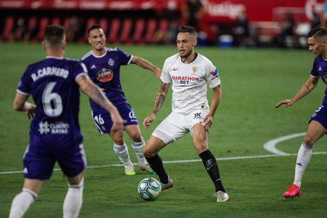 Lucas Ocampos en el Sevilla-Real Valladolid