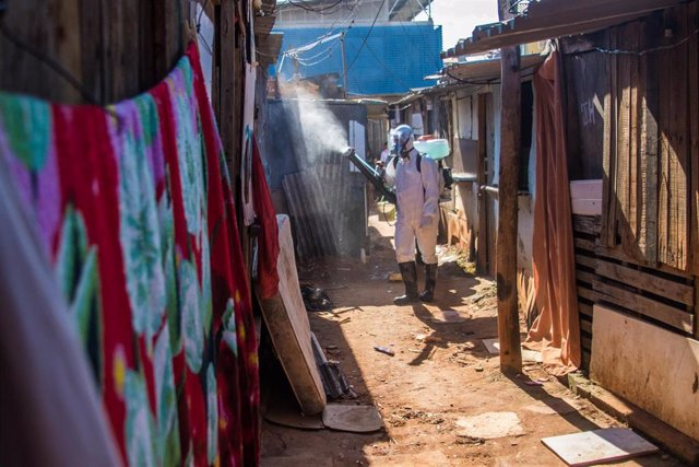 Tareas de desinfección por el coronavirus en Río de Janeiro