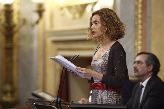 La presidenta del Congreso de los Diputados, Meritxell Batet, durante el homenaje que cada 27 de junio rinde el Congreso de los Diputados a las víctimas del terrorismo.