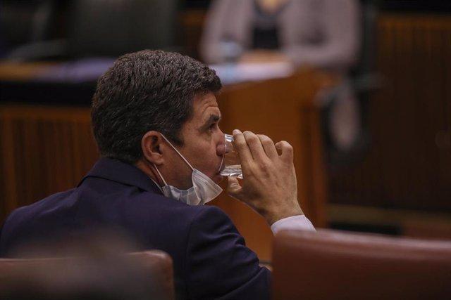 El portavoz del grupo parlamentario Ciudadanos, Sergio Romero, en una foto de archivo en el Pleno del Parlamento.