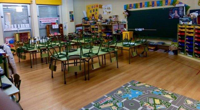 Aula de primaria en un colegio público asturiano.